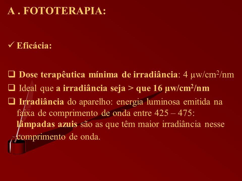 A. FOTOTERAPIA: Eficácia: Dose terapêutica mínima de irradiância: 4 µw/cm 2 /nm Ideal que a irradiância seja > que 16 µw/cm 2 /nm Irradiância do apare
