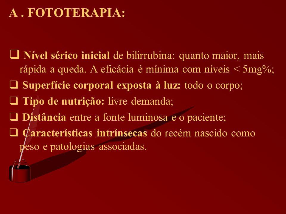 A. FOTOTERAPIA: Nível sérico inicial de bilirrubina: quanto maior, mais rápida a queda. A eficácia é mínima com níveis < 5mg%; Superfície corporal exp