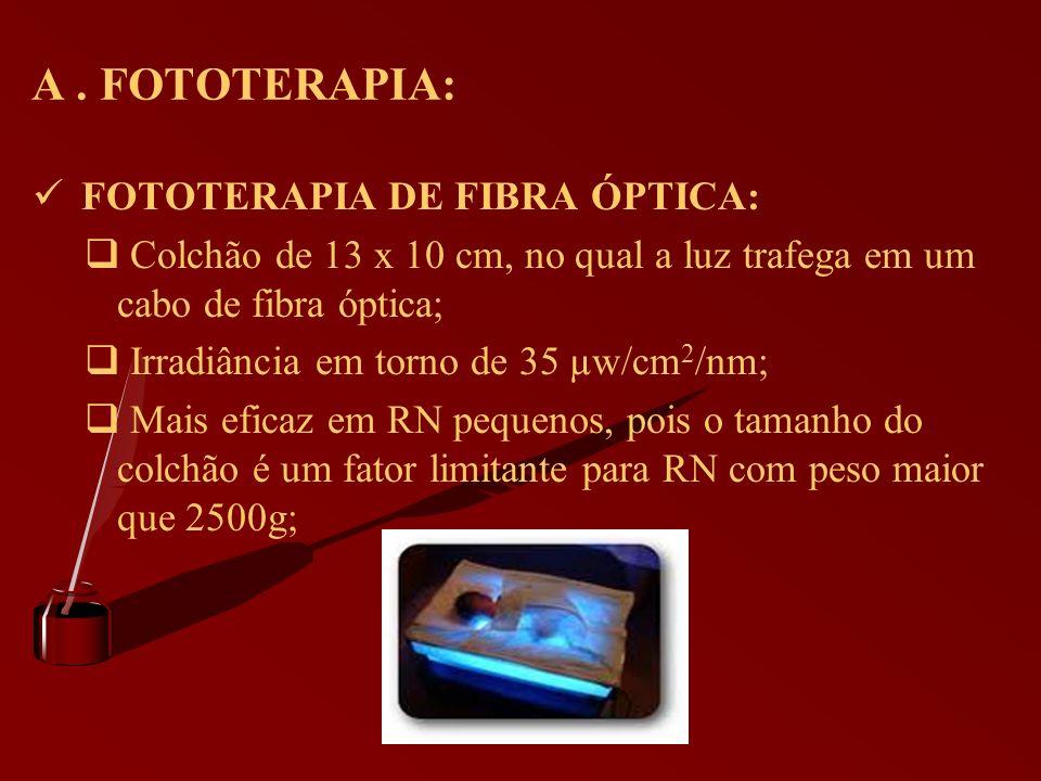 A. FOTOTERAPIA: FOTOTERAPIA DE FIBRA ÓPTICA: Colchão de 13 x 10 cm, no qual a luz trafega em um cabo de fibra óptica; Irradiância em torno de 35 µw/cm