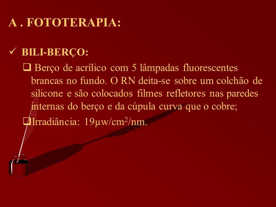 A. FOTOTERAPIA: BILI-BERÇO: Berço de acrílico com 5 lâmpadas fluorescentes brancas no fundo. O RN deita-se sobre um colchão de silicone e são colocado