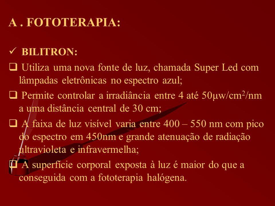 A. FOTOTERAPIA: BILITRON: Utiliza uma nova fonte de luz, chamada Super Led com lâmpadas eletrônicas no espectro azul; Permite controlar a irradiância