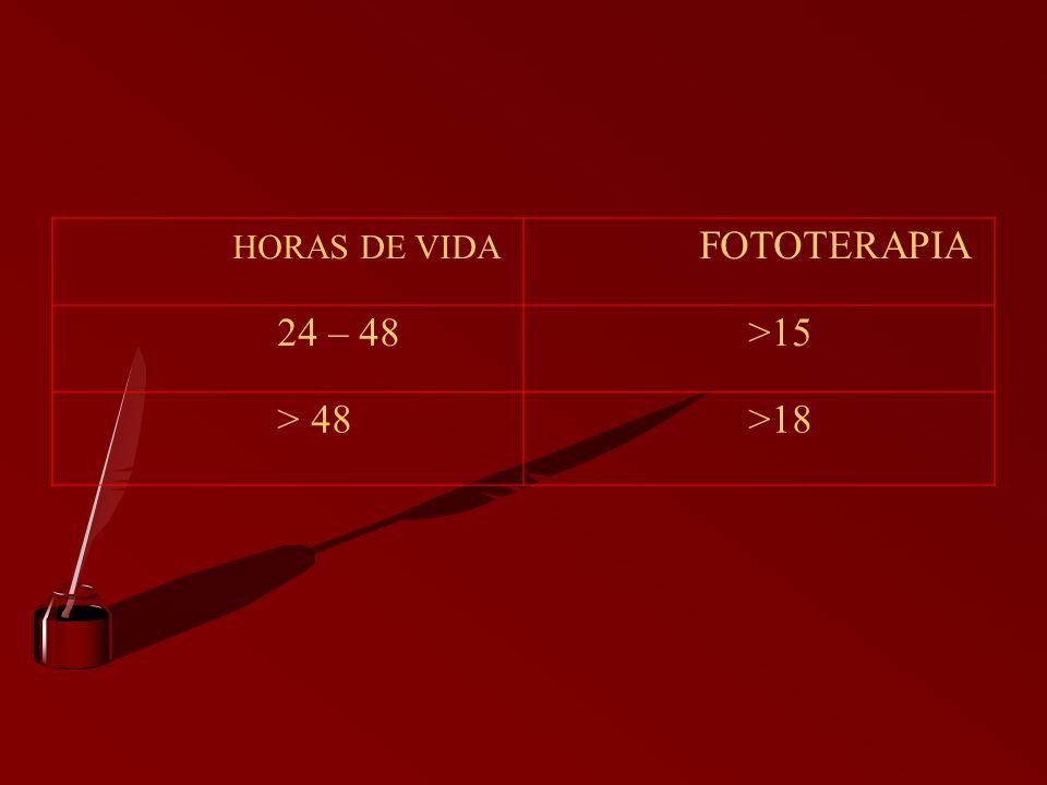 HORAS DE VIDA FOTOTERAPIA 24 – 48 >15 > 48 >18