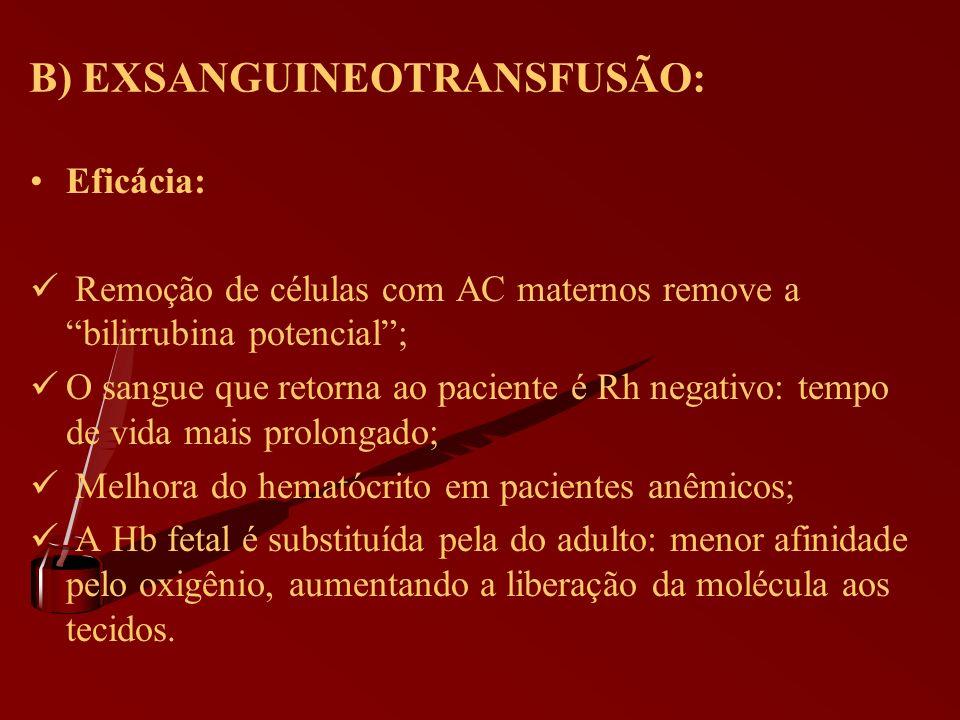 B) EXSANGUINEOTRANSFUSÃO: Eficácia: Remoção de células com AC maternos remove a bilirrubina potencial; O sangue que retorna ao paciente é Rh negativo: