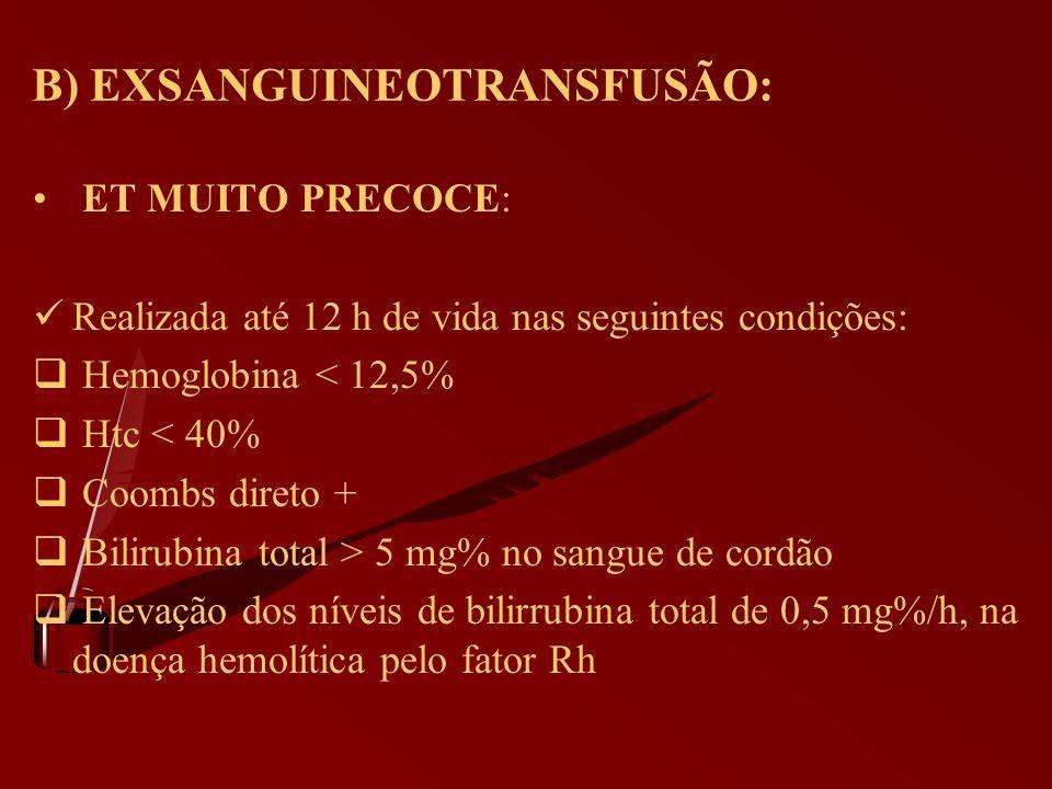 B) EXSANGUINEOTRANSFUSÃO: ET MUITO PRECOCE: Realizada até 12 h de vida nas seguintes condições: Hemoglobina < 12,5% Htc < 40% Coombs direto + Bilirubi