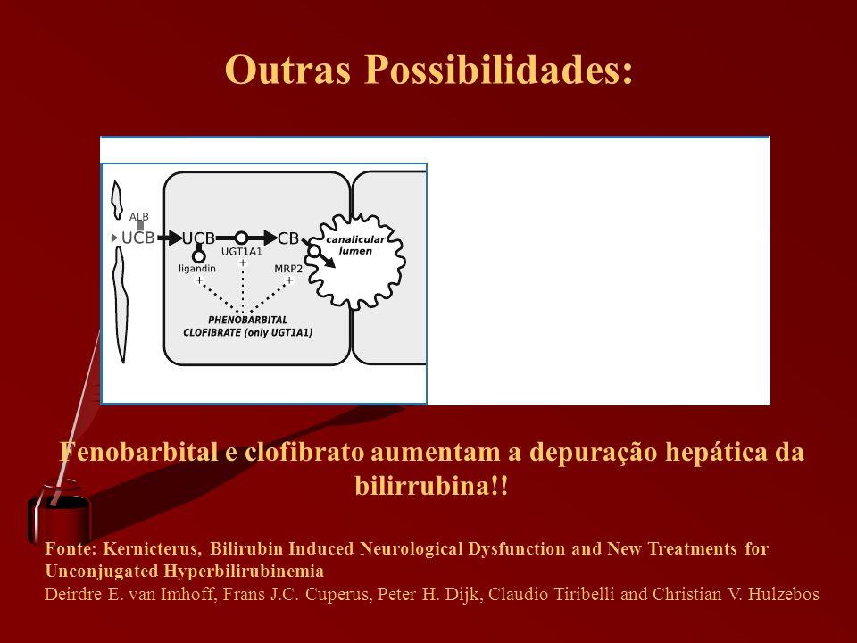 Outras Possibilidades: Fenobarbital e clofibrato aumentam a depuração hepática da bilirrubina!! Fonte: Kernicterus, Bilirubin Induced Neurological Dys
