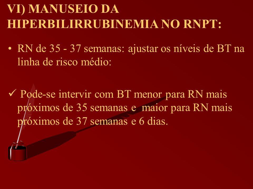 VI) MANUSEIO DA HIPERBILIRRUBINEMIA NO RNPT: RN de 35 - 37 semanas: ajustar os níveis de BT na linha de risco médio: Pode-se intervir com BT menor par