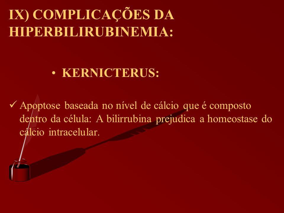 IX) COMPLICAÇÕES DA HIPERBILIRUBINEMIA: KERNICTERUS: Apoptose baseada no nível de cálcio que é composto dentro da célula: A bilirrubina prejudica a ho