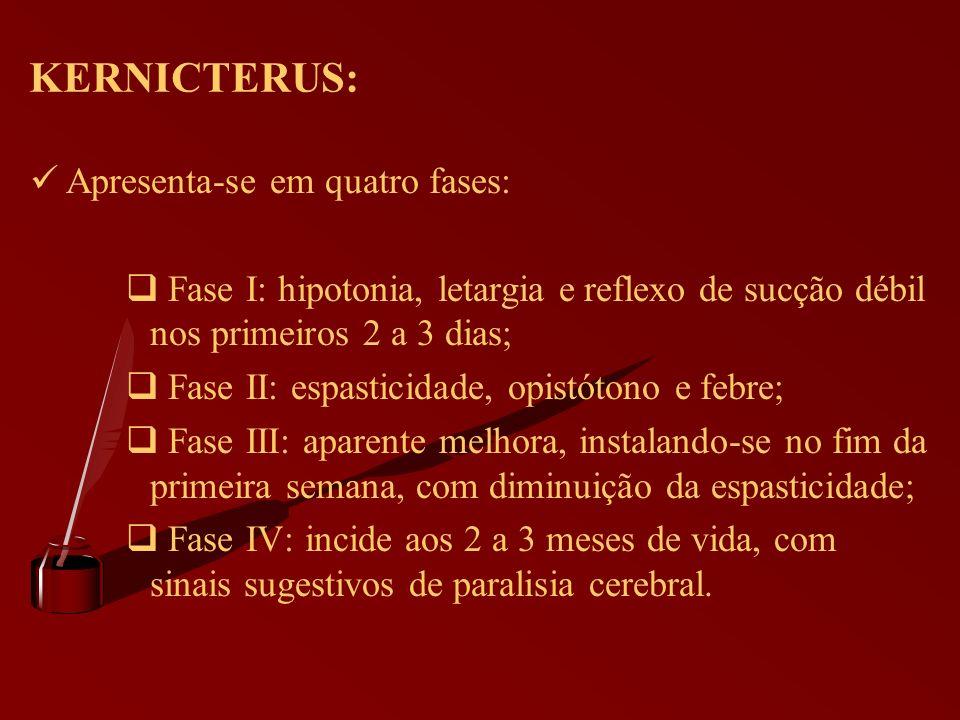 KERNICTERUS: Apresenta-se em quatro fases: Fase I: hipotonia, letargia e reflexo de sucção débil nos primeiros 2 a 3 dias; Fase II: espasticidade, opi