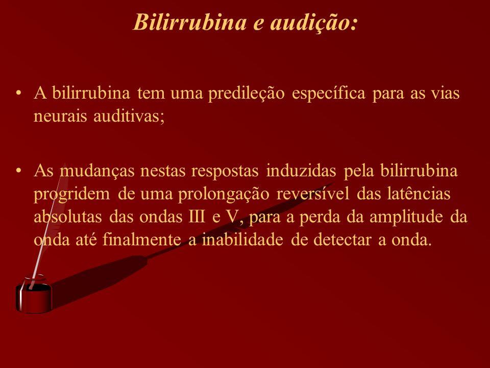 Bilirrubina e audição: A bilirrubina tem uma predileção específica para as vias neurais auditivas; As mudanças nestas respostas induzidas pela bilirru