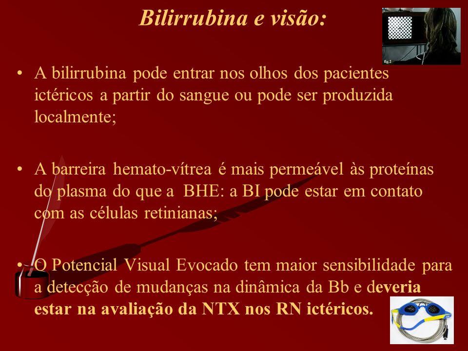 Bilirrubina e visão: A bilirrubina pode entrar nos olhos dos pacientes ictéricos a partir do sangue ou pode ser produzida localmente; A barreira hemat