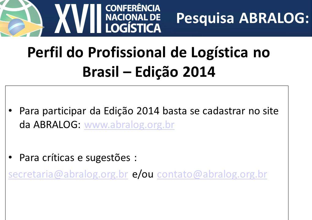 Para participar da Edição 2014 basta se cadastrar no site da ABRALOG: www.abralog.org.brwww.abralog.org.br Para críticas e sugestões : secretaria@abra