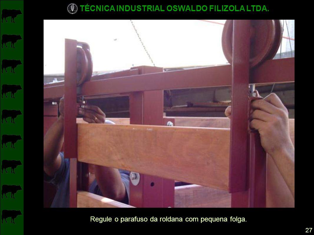 TÉCNICA INDUSTRIAL OSWALDO FILIZOLA LTDA. 27 Regule o parafuso da roldana com pequena folga.