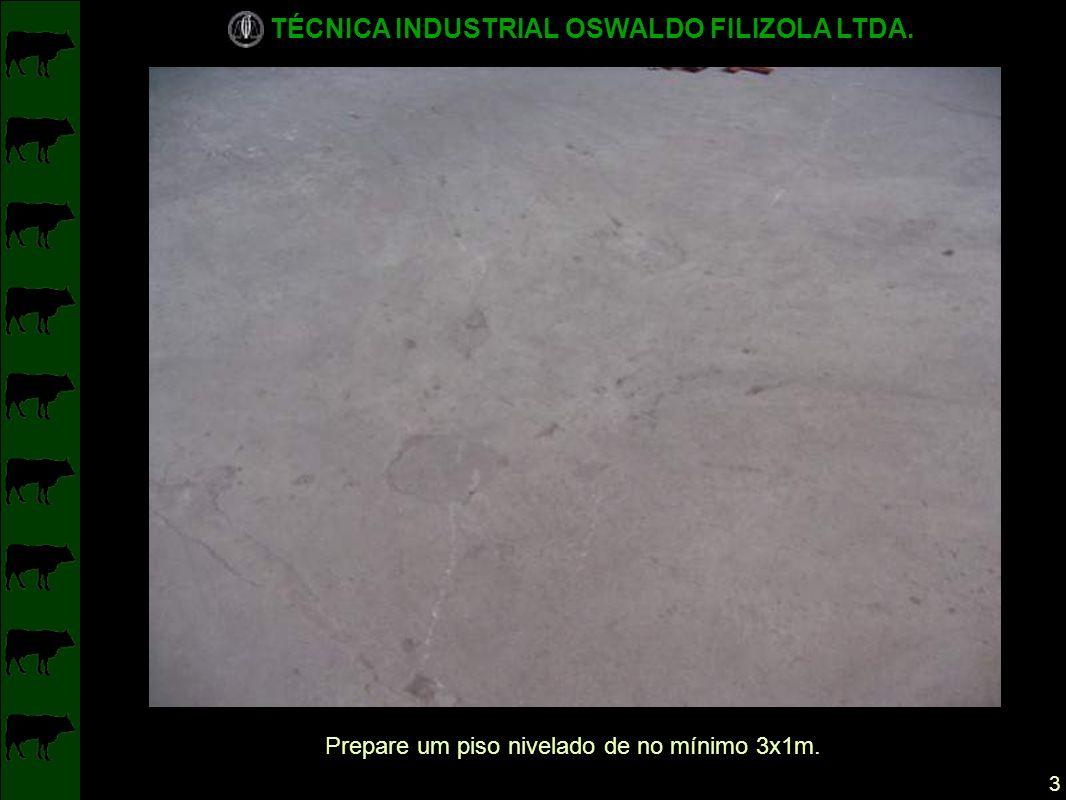 TÉCNICA INDUSTRIAL OSWALDO FILIZOLA LTDA. 3 Prepare um piso nivelado de no mínimo 3x1m.