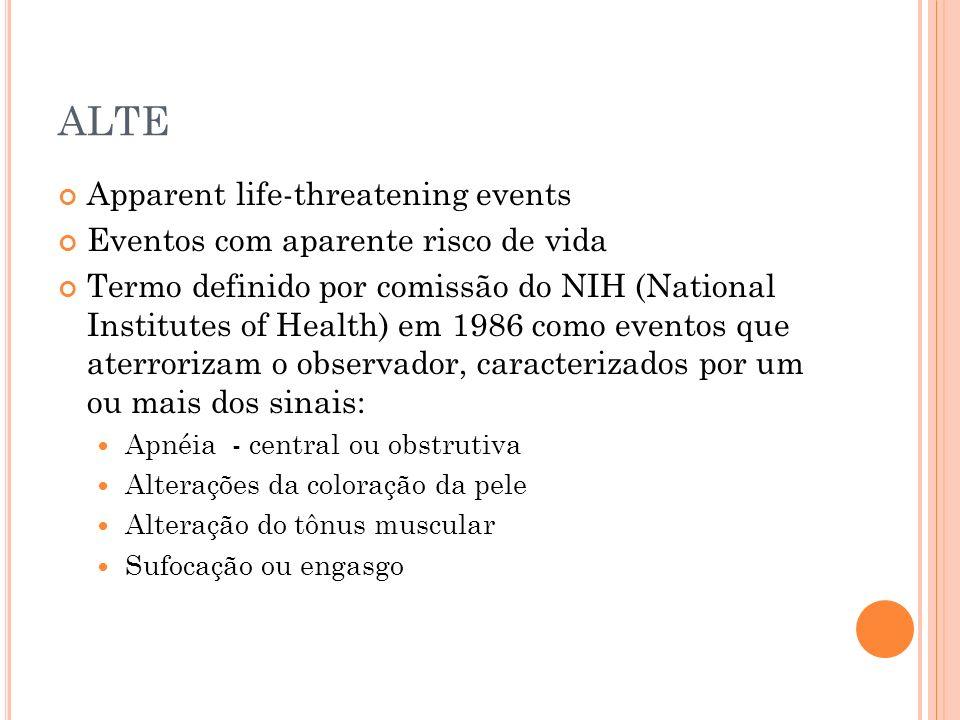 Apparent life-threatening events Eventos com aparente risco de vida Termo definido por comissão do NIH (National Institutes of Health) em 1986 como ev