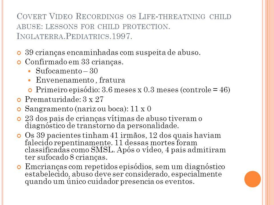 C OVERT V IDEO R ECORDINGS OS L IFE - THREATNING CHILD ABUSE : LESSONS FOR CHILD PROTECTION. I NGLATERRA.P EDIATRICS.1997. 39 crianças encaminhadas co
