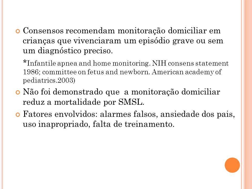 Consensos recomendam monitoração domiciliar em crianças que vivenciaram um episódio grave ou sem um diagnóstico preciso. * Infantile apnea and home mo