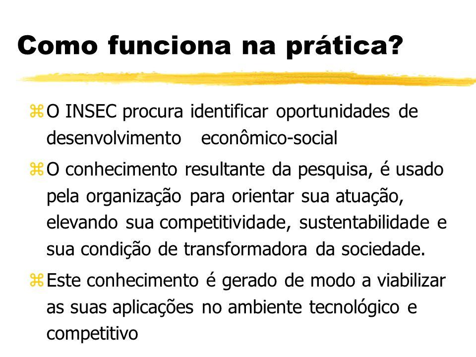 Como funciona na prática? zO INSEC procura identificar oportunidades de desenvolvimento econômico-social zO conhecimento resultante da pesquisa, é usa