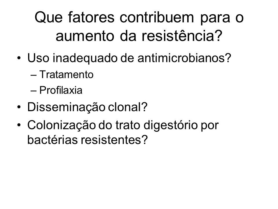 Que fatores contribuem para o aumento da resistência? Uso inadequado de antimicrobianos? –Tratamento –Profilaxia Disseminação clonal? Colonização do t