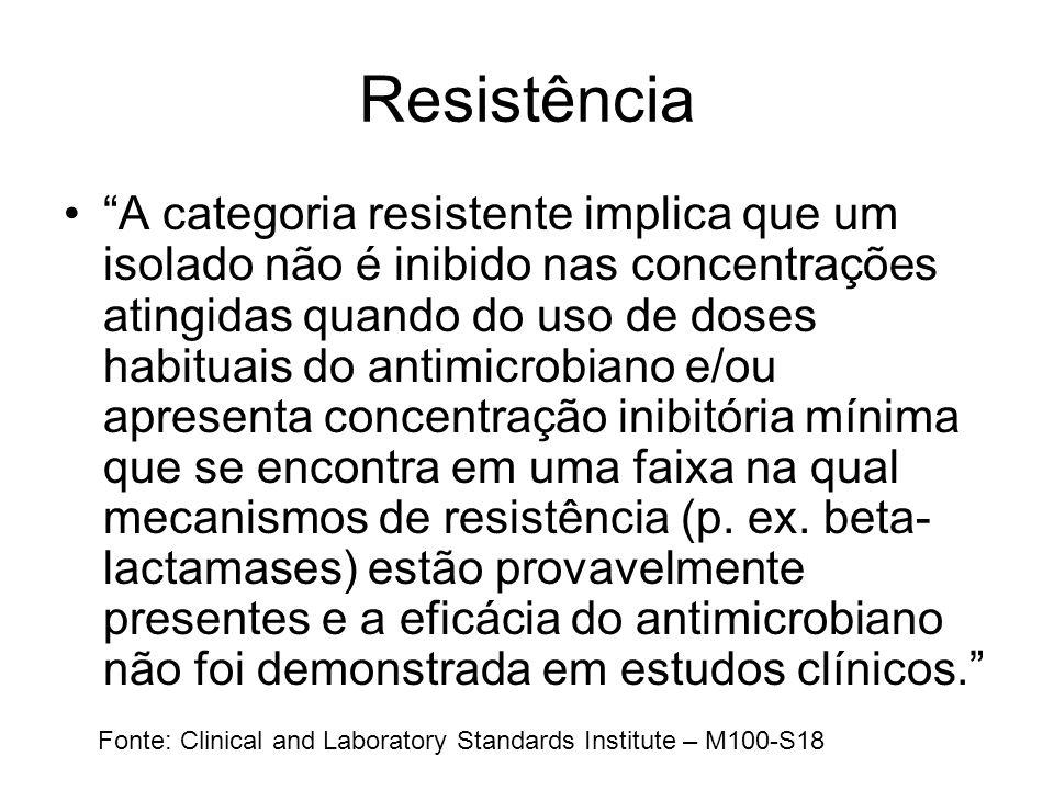 Resistência A categoria resistente implica que um isolado não é inibido nas concentrações atingidas quando do uso de doses habituais do antimicrobiano