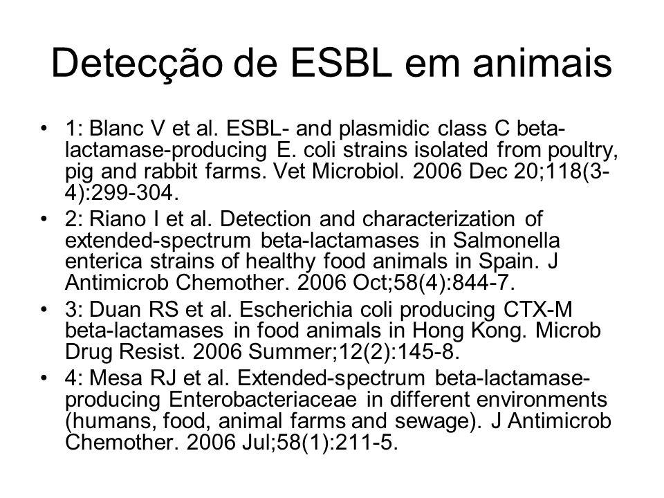 Detecção de ESBL em animais 1: Blanc V et al. ESBL- and plasmidic class C beta- lactamase-producing E. coli strains isolated from poultry, pig and rab