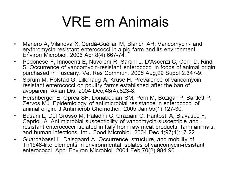 VRE em Animais Manero A, Vilanova X, Cerdà-Cuéllar M, Blanch AR. Vancomycin- and erythromycin-resistant enterococci in a pig farm and its environment.
