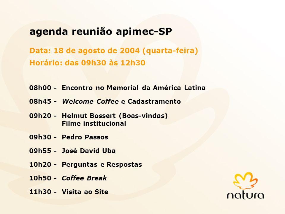 2 2 agenda reunião apimec-SP Data: 18 de agosto de 2004 (quarta-feira) Horário: das 09h30 às 12h30 08h00 -Encontro no Memorial da América Latina 08h45