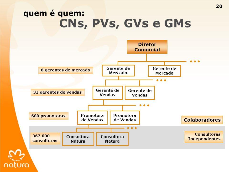 20 quem é quem: CNs, PVs, GVs e GMs Diretor Comercial Gerente de Mercado Gerente de Vendas Promotora de Vendas Consultora Natura Colaboradores Consult