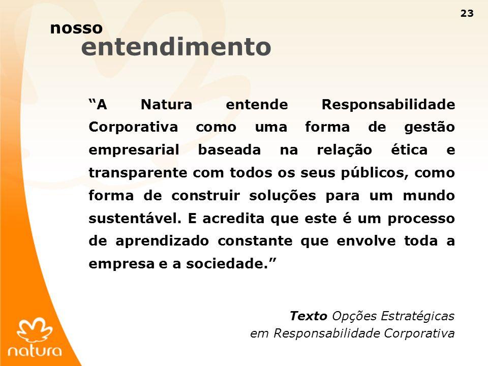 23 A Natura entende Responsabilidade Corporativa como uma forma de gestão empresarial baseada na relação ética e transparente com todos os seus públic