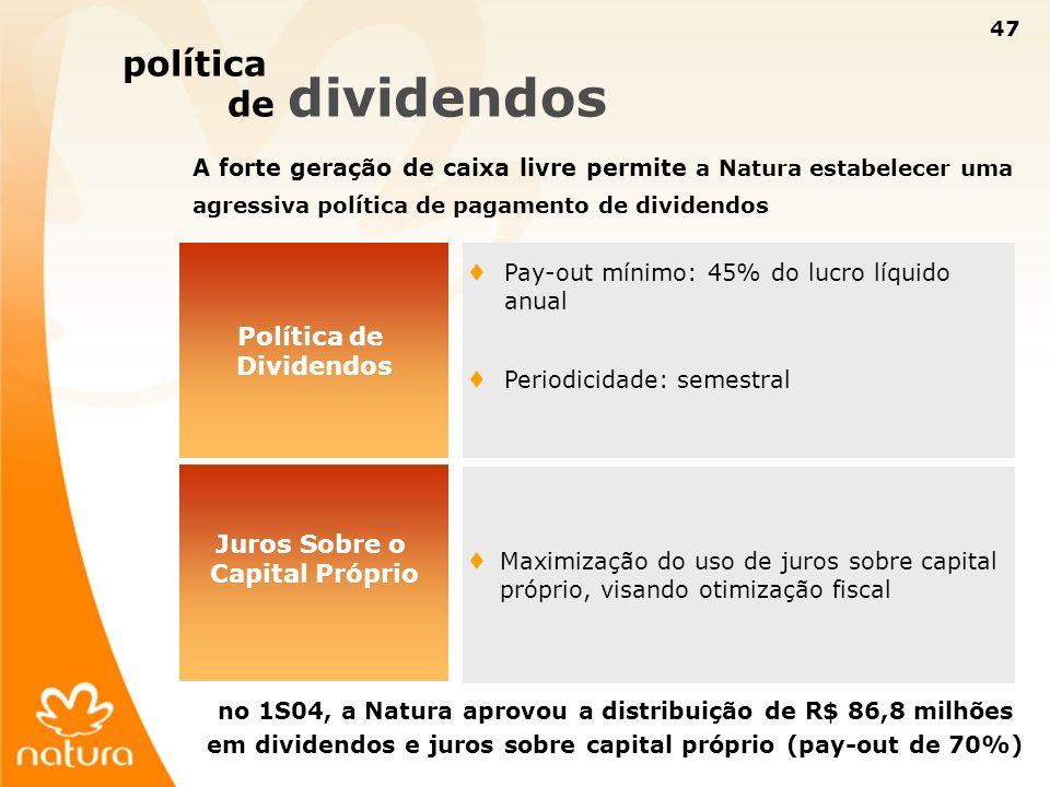 47 política de dividendos Política de Dividendos A forte geração de caixa livre permite a Natura estabelecer uma agressiva política de pagamento de di