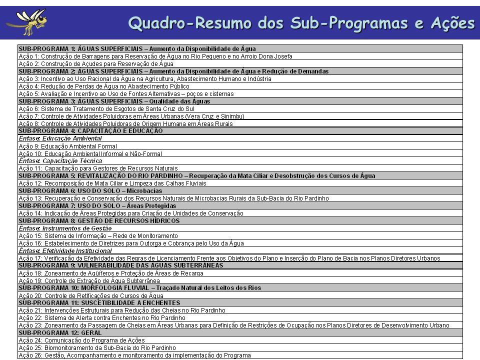 Quadro-Resumo dos Sub-Programas e Ações