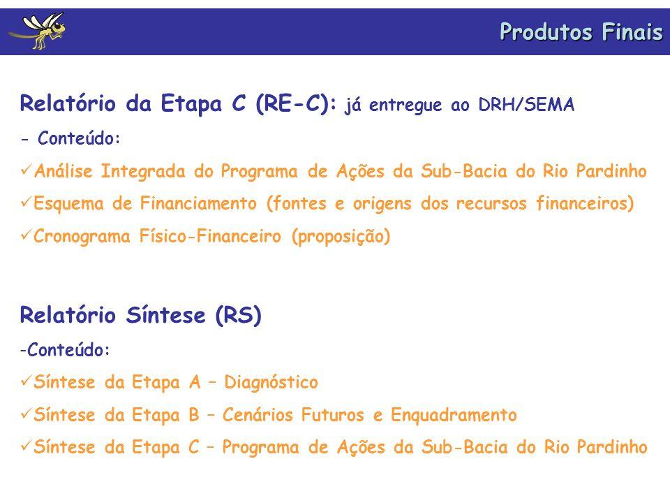 Produtos Finais Relatório da Etapa C (RE-C): já entregue ao DRH/SEMA - Conteúdo: Análise Integrada do Programa de Ações da Sub-Bacia do Rio Pardinho E