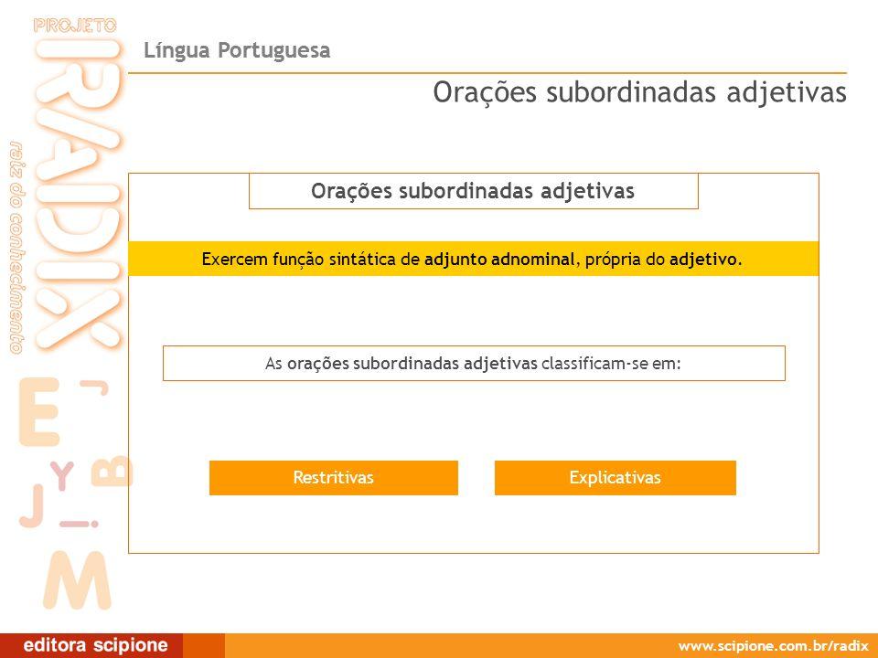 Língua Portuguesa www.scipione.com.br/radix Orações subordinadas adjetivas ExplicativasRestritivas As orações subordinadas adjetivas classificam-se em