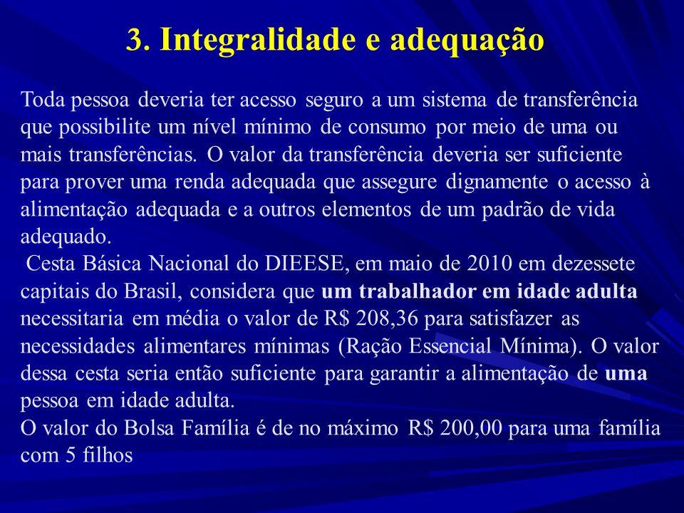 3. Integralidade e adequação Toda pessoa deveria ter acesso seguro a um sistema de transferência que possibilite um nível mínimo de consumo por meio d