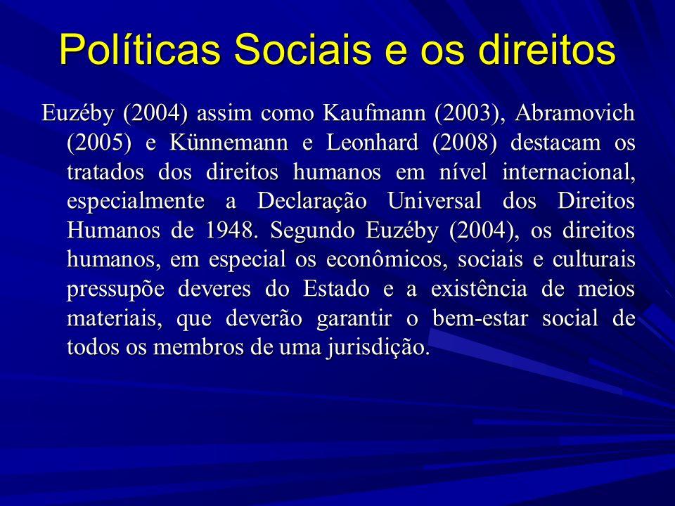 Políticas Sociais e os direitos Euzéby (2004) assim como Kaufmann (2003), Abramovich (2005) e Künnemann e Leonhard (2008) destacam os tratados dos direitos humanos em nível internacional, especialmente a Declaração Universal dos Direitos Humanos de 1948.