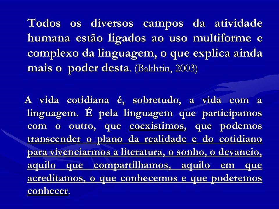 Todos os diversos campos da atividade humana estão ligados ao uso multiforme e complexo da linguagem, o que explica ainda mais o poder desta. (Bakhtin
