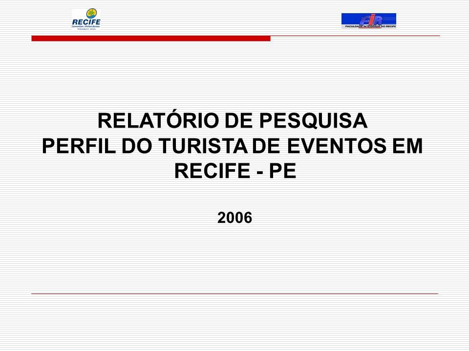 RELATÓRIO DE PESQUISA PERFIL DO TURISTA DE EVENTOS EM RECIFE - PE 2006
