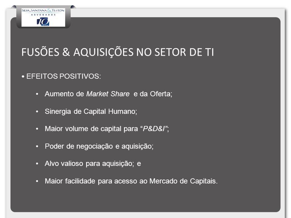 FUSÕES & AQUISIÇÕES NO SETOR DE TI EFEITOS POSITIVOS: Aumento de Market Share e da Oferta; Sinergia de Capital Humano; Maior volume de capital para P&