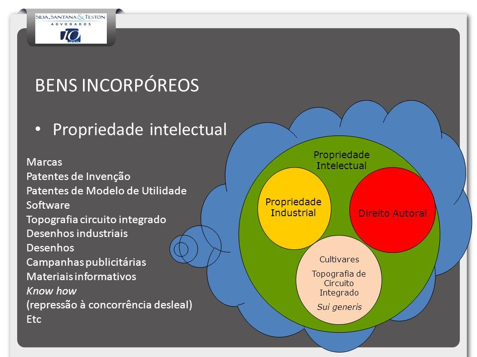 BENS INCORPÓREOS Propriedade intelectual Propriedade Industrial Direito Autoral Propriedade Intelectual Cultivares Topografia de Circuito Integrado Su