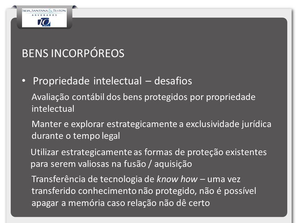 BENS INCORPÓREOS Propriedade intelectual – desafios Avaliação contábil dos bens protegidos por propriedade intelectual Manter e explorar estrategicame