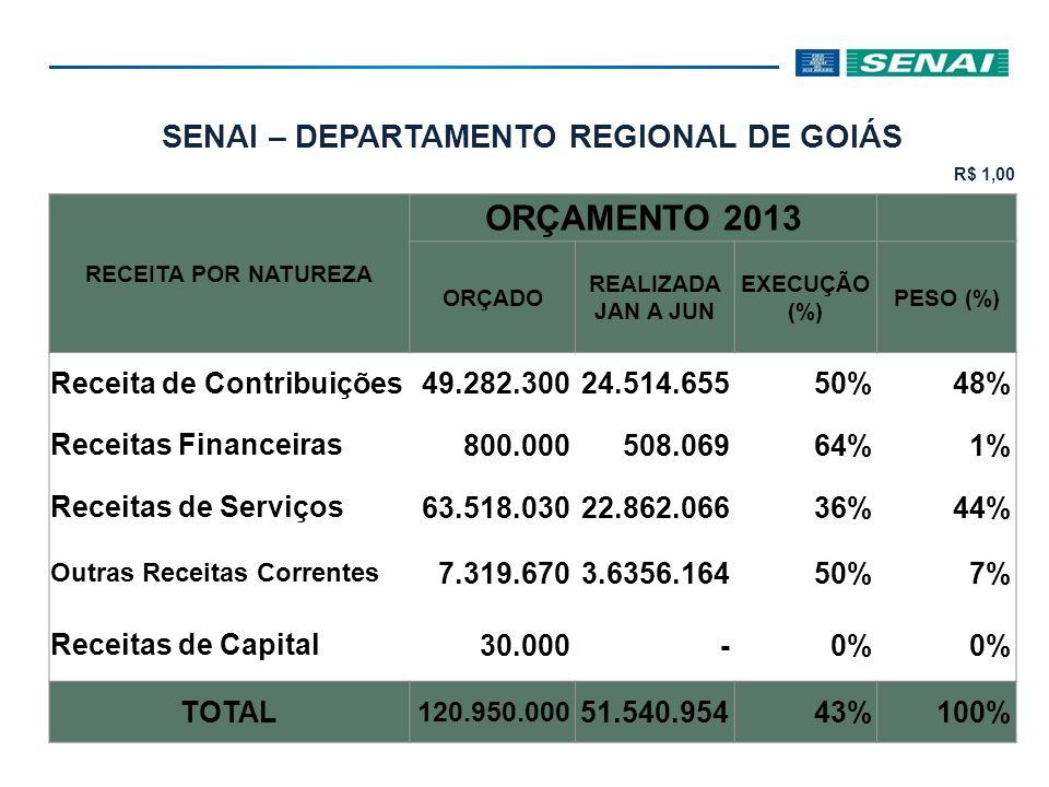 SENAI – DEPARTAMENTO REGIONAL DE GOIÁS R$ 1,00 DESPESA POR NATUREZA ORÇAMENTO 2013 ORÇADO REALIZADA JAN A JUN EXECUÇÃO (%) PESO (%) Pessoal e Enc.