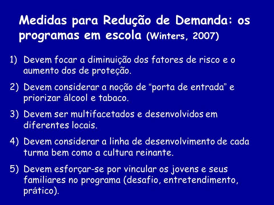 Medidas para Redução de Demanda: os programas em escola (Winters, 2007) 1)Devem focar a diminui ç ão dos fatores de risco e o aumento dos de prote ç ã