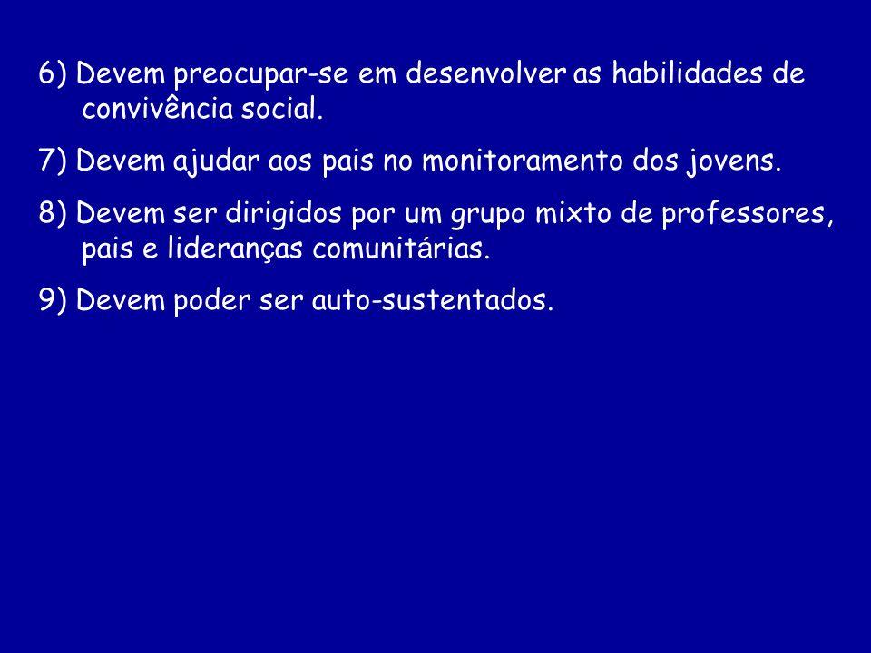 6) Devem preocupar-se em desenvolver as habilidades de convivência social. 7) Devem ajudar aos pais no monitoramento dos jovens. 8) Devem ser dirigido