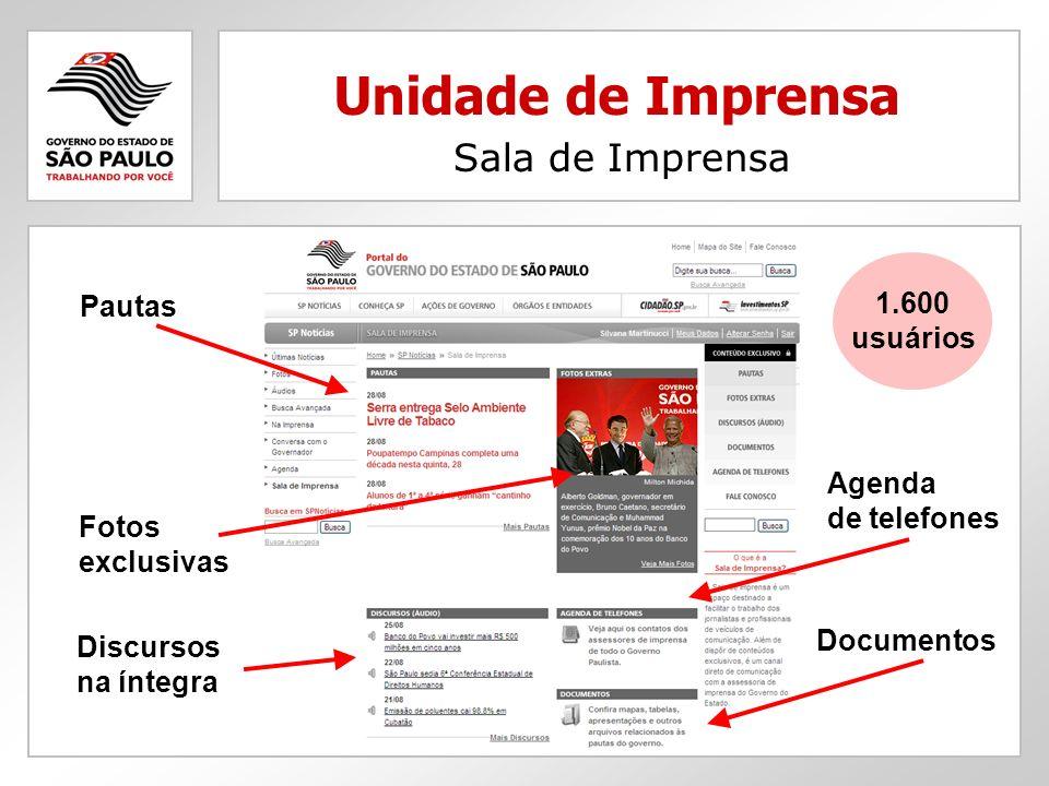 Unidade de Imprensa Sala de Imprensa Agenda de telefones Discursos na íntegra Documentos Pautas Fotos exclusivas 1.600 usuários