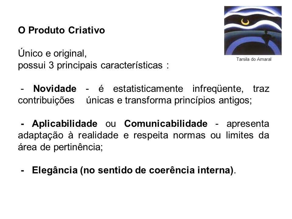 O Produto Criativo Único e original, possui 3 principais características : - Novidade - é estatisticamente infreqüente, traz contribuições únicas e tr