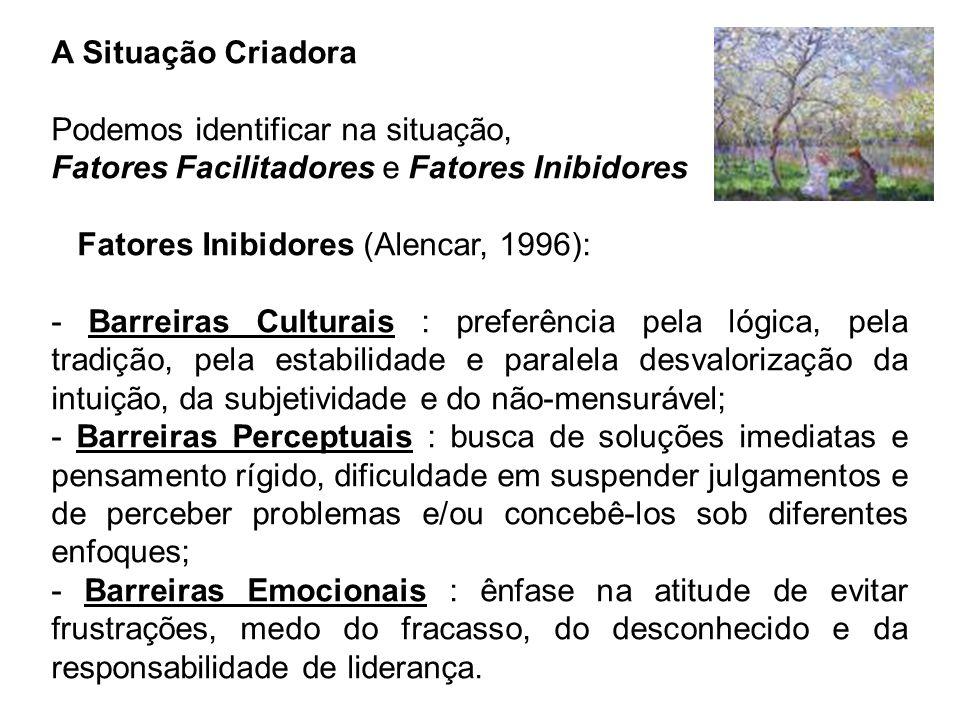 A Situação Criadora Podemos identificar na situação, Fatores Facilitadores e Fatores Inibidores Fatores Inibidores (Alencar, 1996): - Barreiras Cultur