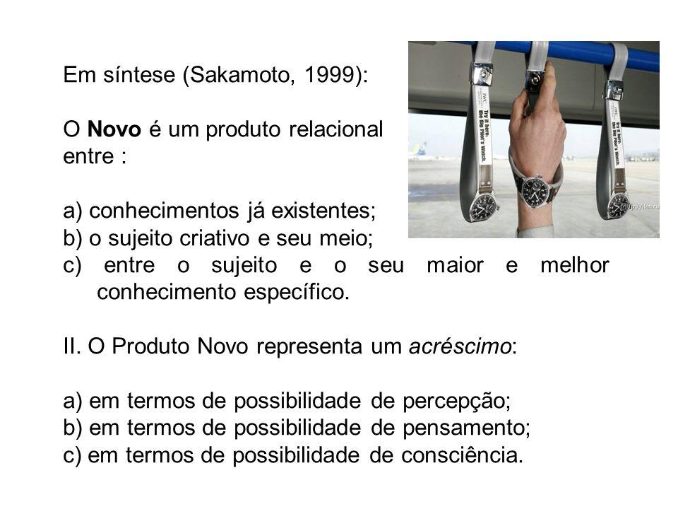 Em síntese (Sakamoto, 1999): O Novo é um produto relacional entre : a) conhecimentos já existentes; b) o sujeito criativo e seu meio; c) entre o sujei
