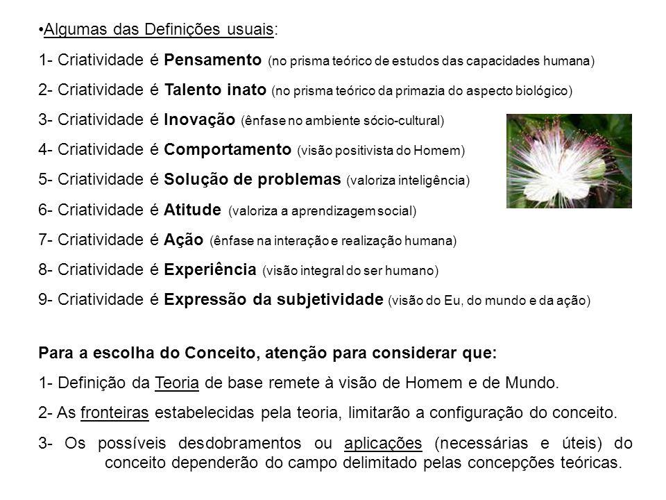 Algumas das Definições usuais: 1- Criatividade é Pensamento (no prisma teórico de estudos das capacidades humana) 2- Criatividade é Talento inato (no