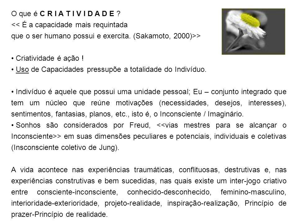 O que é C R I A T I V I D A D E ? << É a capacidade mais requintada que o ser humano possui e exercita. (Sakamoto, 2000)>> Criatividade é ação ! Uso d
