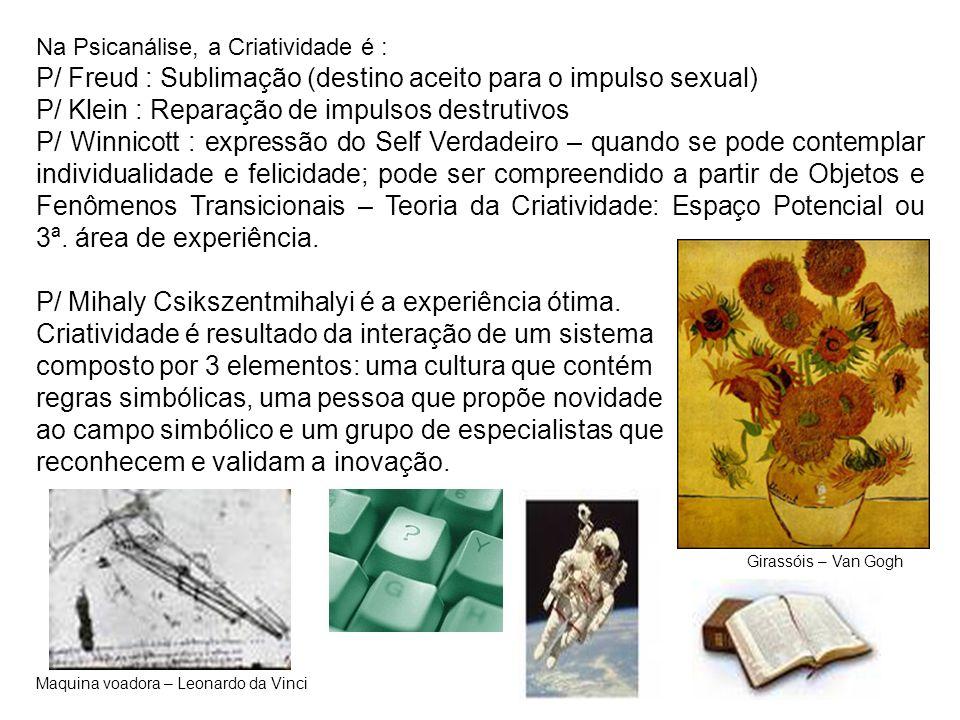 Na Psicanálise, a Criatividade é : P/ Freud : Sublimação (destino aceito para o impulso sexual) P/ Klein : Reparação de impulsos destrutivos P/ Winnic