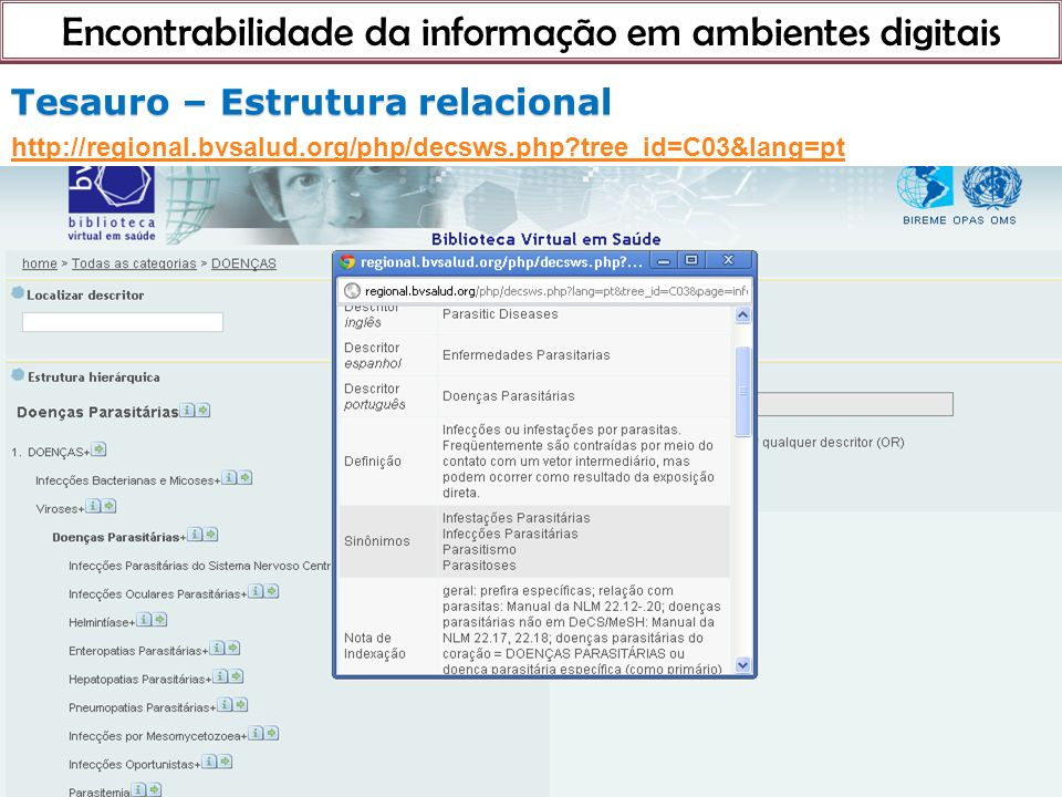 Encontrabilidade da informação em ambientes digitais 21 de março de 201 Tesauro – Estrutura relacional Tesauro – Estrutura relacional http://regional.